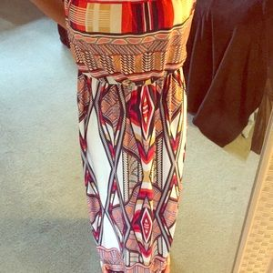 Colorful Red/Blue Maxi Dress